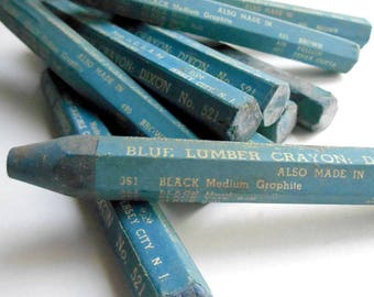 VINTAGE 9 pcs Joseph DIXON No 521 Soft Blue Lumber Crayon Woodworking wood marker working parts tools shop supply USA parts tool accessories
