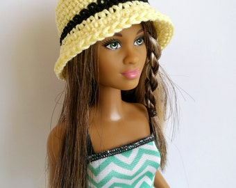 Yellow Barbie doll cloche hat, fashion doll hat, clothes