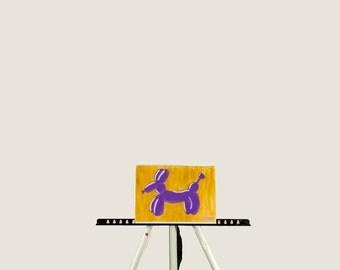 Balloon Doggie Painting // Pop Art, Painting, 9X11, Acrylic Painting, Wall Art, Colorful Painting, Artwork, Balloon Dog, Balloon Animal