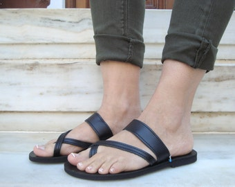 Black Leather Sandals, Spartan Leather Flat, Beach Greek Sandals, Greek Style Shoes, Ancient Sandals, Black Gladiators, Alcestis