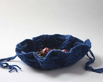 Large Round Dice Bag / Knitted Circle Bag