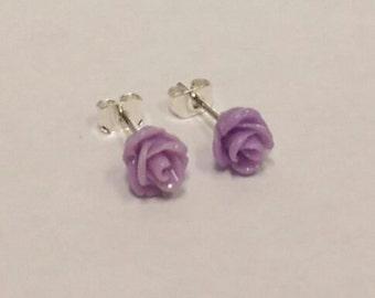 Purple flower stud earrings