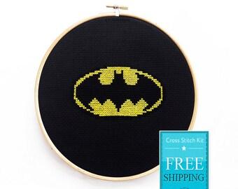 Batman Cross Stitch Kit, Cross Stitch Kit, Superhero Cross Stitch Kit, Modern Couned Cross Stitch Kit
