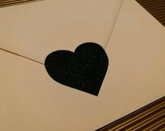 20 black glitter heart envelope seals, stickers for envelopes, glitter stickers for valentines day, love sticker, dark magic sticker