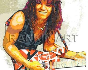 Eddie Van Halen, 16x20 in, 41x51 cm, Limited Edition Print #2 of 200, Giclee, Artist Signed Art Print w/ COA