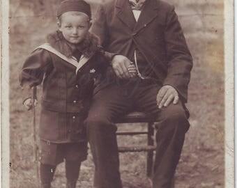 Vintage Photo - Grandfather and grandson - Grandpa and grandson - Child with man -  Vintage Snapshot - Polish Photo - 1920s Photo
