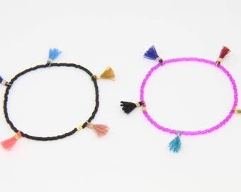 Mini Tassel Bracelet Beaded Friendship Bracelet Summer Stretch Bracelet Beach Jewelry Colorful Beaded Bracelet Tiny Tassel Stacking Bracelet