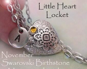 Little Heart Locket November Birthday Personalized w-Swarovski Birthstone and Letter Charm, November Birthday Gift, November Birthstone