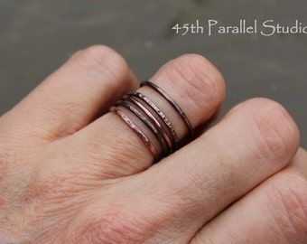 Thin Copper Stacking Rings, Copper Midi Ring, Stacking Ring Set, Stackable Ring, Copper Wire Rings, Copper Rings, Copper Jewelry