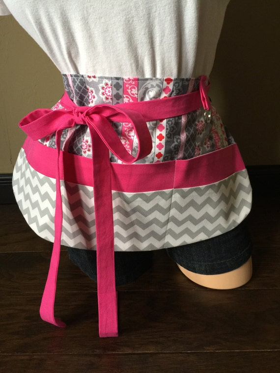 Gray, White, and Pink Apron