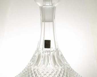 Ship Captain's Lead Crystal Diamond Point Decanter Made in Italy