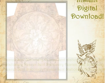 Gold Envelope, Vintage Style, Printable Envelope, Digital Download Envelope, Digital Envelope, Envelope Page, Stationery Paper