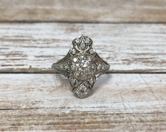 Vintage Platinum & Diamond Shield Ring