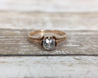 Antique Victorian 14K Rose Gold & Diamond Solitaire Engagement Ring