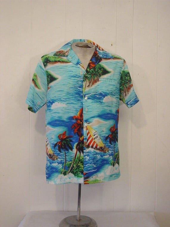 vintage hawaiian shirt vintage clothing 1970s shirt 1970s