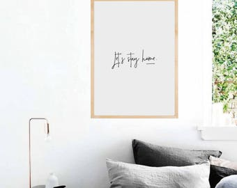 Let's Stay Home, Typography Print, Bedroom Wall Decor, Typography Wall Art, Printable Quote, Typograhy Poster, Bedroom Wall Art, Printable