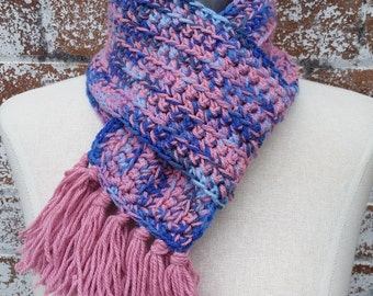 Pink and Blue Scarf, Hand Crocheted Scarf, Ladies Scarf, Winter Scarf, Handmade Scarf
