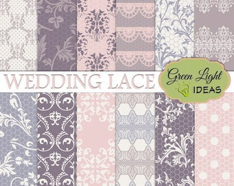 Wedding Lace Digital Paper, Wedding Purple Paper, Wedding Background, Lace Scrapbook Paper, Lace Textures Paper, Commercial Use Bridal Paper