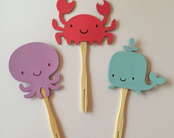 Octopus, crab & whale under the sea themed birthday or baby shower cupcake toppers or appetizer picks (set of 12)