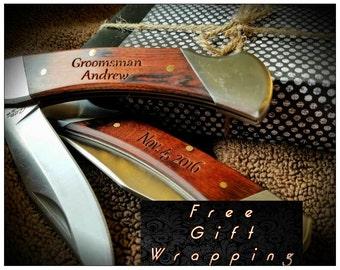 Set of 10- Groomsmen Gifts, Engraved Pocket Knife, Personalized Groomsman Gift Set, Gift For Groomsmen, Best Man Gift, Wedding Party Favors