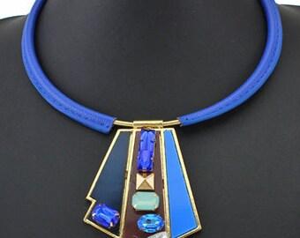 Blue Leather & Geometric Statement Necklace