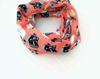 Cotton infinity scarf, polaroid camera print, retro 80s kitsch, kitsch camera fabric, kitsch gift idea, kitsch 80s gift, cool geek gift