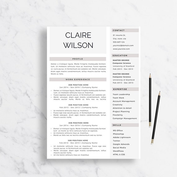 Professional Resume Template Cover Letter For Word Creative