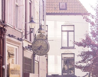 Where Time Stands Still - Dutch decor, urban photography, wall art canvas, large art print, Nijmegen print, old clock, storefronts, facades