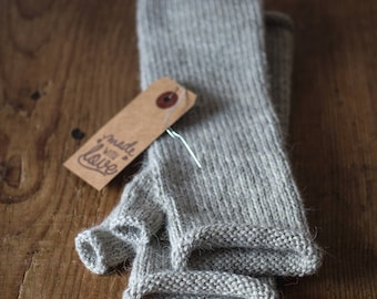 100% Wool & Alpaca Hand Knitted Fingerless Gloves, Handwarmer Mittens, Arm Warmers, Lightweight Mittens, Gift Idea