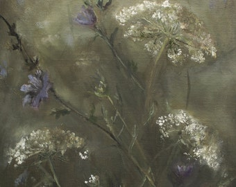 Queen Anne's Lace with Chicory Original Floral, Flower Oil Painting