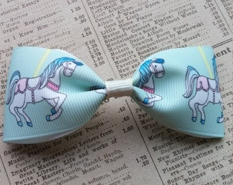 Horse Carousel Hair Bow, horse party favors, girls hair bows, toddler hair bows, cute hair, hair accessories