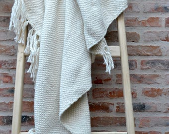 Wool Throw Blanket, Pure Merino Wool blanket, Handmade Undyed Organic Wool, Unique Gift, Eco friendly blanket throw