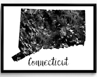 Map of Connecticut, United States of America, Black and White Map, Travel, Watercolor, Room Decor, Poster, gift, Printable Wall Art (739)