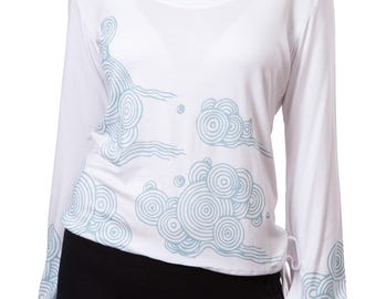 Long Sleeve White Top with Print
