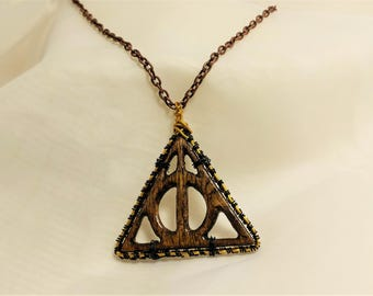 Harry Potter Necklace, Deathly Hallows Wire Wrap Necklace, Gold and Black Necklace, Handmade Necklace, Wooden Necklace