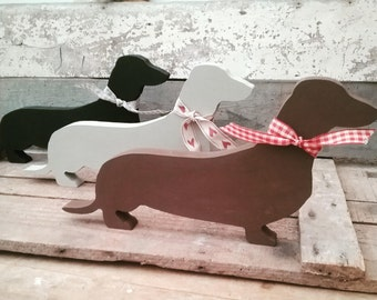 Hand Painted Wooden Dachshund Sausage Wiener dog, Ornament, Decoration, Dog Lover Gift, Handpainted