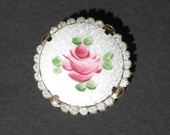 Enamel guilloche pink rose flower brooch with diamante