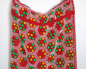 Beautiful Vintage 1960s 1970s Beaded Shoulder Bag playpurse kitsch