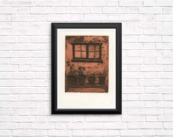 Flowers By a Windowsill, Etching