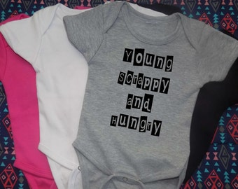 Young Scrappy and Hungry, baby OR YOUTH,  Broadway, Hamilton,  Funny Baby, Onesie, baby shower, gift for new mom, gift for dad, baby gift