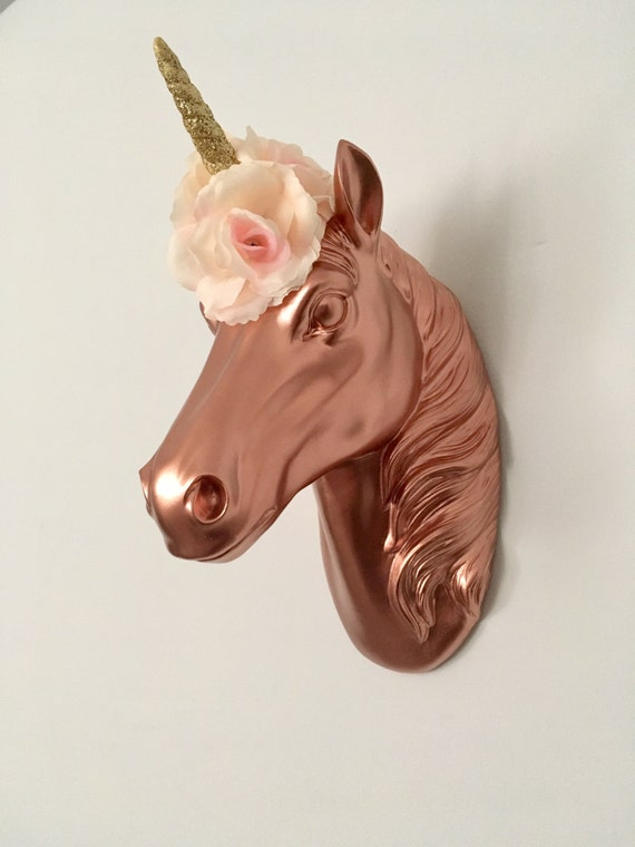Rose Gold Unicorn Head Mount With Gold Glitter Staff And Pink