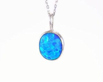 silver blue necklace blue opal pendant blue charm necklace Opal silver necklace, blue opal necklace, blue silver necklace, oval blue pendant