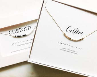 Custom Morse Code Necklace, Jewelry, Mother's Day, Graduation, Birthday, Teacher, Silver, Gold Filled