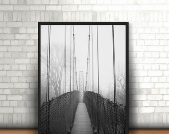 Swinging Bridge, Fog, Black and White, Instant, Download