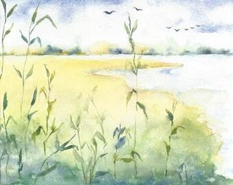 Watercolor Landscape Painting, Original Watercolor Painting, Water Painting, Landscape Art, Marsh Painting, Coastal Decor, Nature Painting
