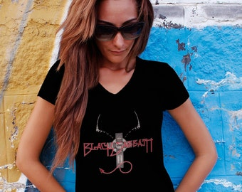 Black Sabbath Women T-shirt Black Sabbath V Neck  Tshirt Black Sabbath Women Shirt Black Sabbath Tee Rock T-shirt Model 9