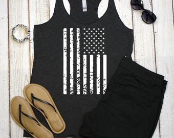 Racerback Tank Tops, Distressed Flag,  Tri-blend Racerback Tanks, US Flag Tank Tops, 4th of July Tank Tops, Women's Tops, Tanks