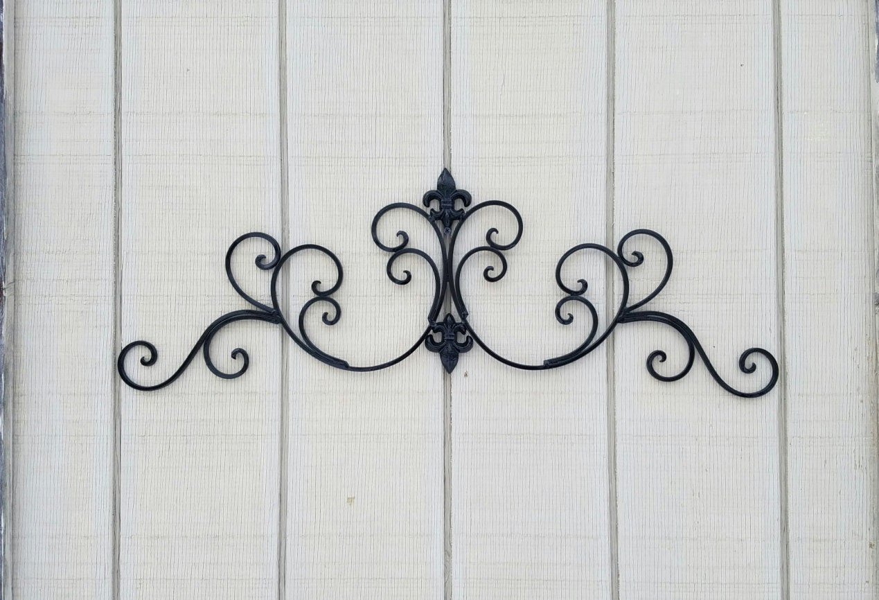 Black Metal Fleur De Lis Wall Decor Shabby Chic Home Black