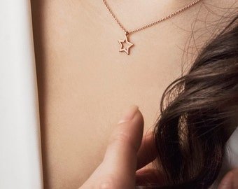 Rose Star Necklace, Rose Gold Star, 14k Gold Necklace, Rose Gold, Gift For Daughter, Dainty Star, Women's Necklace, Gift For Her, Gold Charm