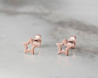 Tiny Star Earrings, 14k Gold Earrings, Rose Gold, Tiny Stud Earrings, Gift For Her, Gold Star Studs, Minimal Earrings, Dainty Star Earrings